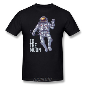 Bitcoin Astronaut to the Moon Cryptocurrency T-Shirt Funny Short Sleeve 100% Cotton T Shirt O Neck Design Adult Tees(China)