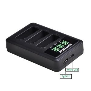Image 5 - 3個のバッテリー移動プロヒーロー7移動プロ6/5 AHDBT 501バッテリー + led 3スロットusb充電器タイプcポート移動プロアクセサリー