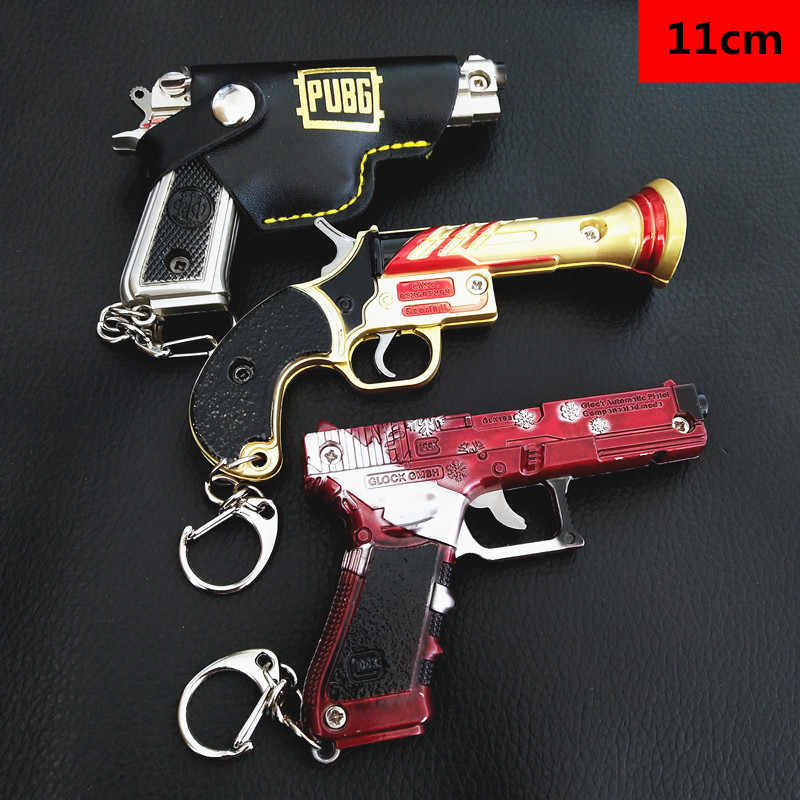 Game PUBG Weapon Gun Model Keychain 98K AWM VSS Key Holder Alloy Key Chains Cosplay Jewelry Size jedi eat chicken 2020 Key ring
