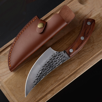 Sowoll Boning Knife Handmade Forged Hammered Chef Kitchen Knives BBQ Tools Chopping Butcher Meat Cleaver Outdoor Camping Gadgets