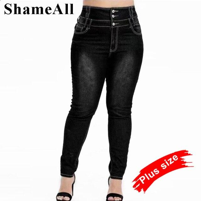 Pantalones vaqueros de talla grande abotonada para mujer, Vaqueros largos ajustados en negro y gris, de cintura alta, 4XL, 5XL, para primavera 1