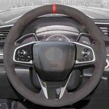Ręcznie szyte miękkie czarne zamszowe pokrowce na kierownicę samochodową do Honda Civic 10 2016 2021 CR V CRV 2017 2021 Clarity 2018 2021