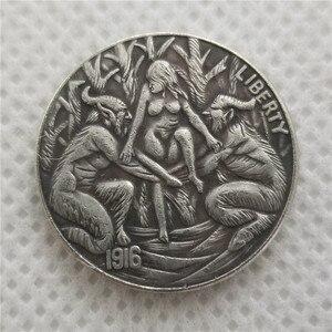 Никелевые монеты Hobo _ type #39 _ 1916-d с гравировкой в виде американского бизона из никеля копия никелевой монеты