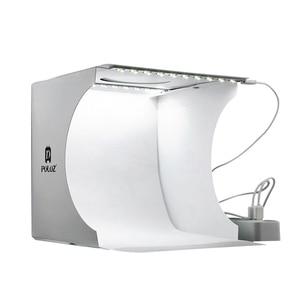 Image 2 - נייד מתקפל Lightbox צילום צילום סטודיו Softbox 2 LED אור רך תיבת תמונה רקע ערכת אור תיבת עבור DSLR מצלמה
