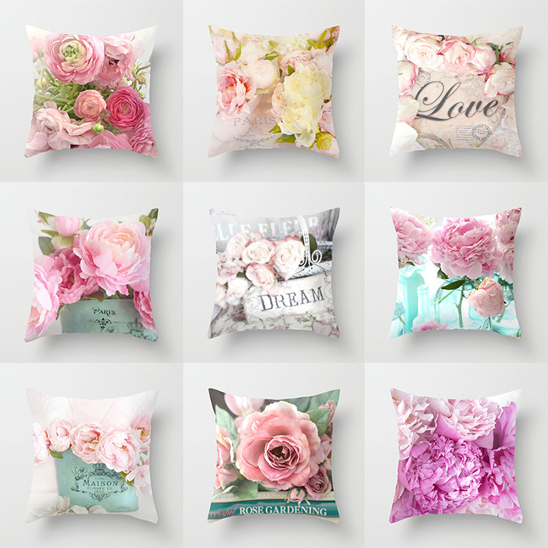 American Country Rose Mediterranean Pillow Nordic Sofa Bedside Cushion Peach Velvet Pillowcase 45 * 45cm