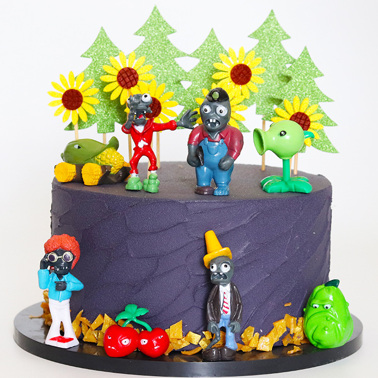 Awesome Plant War Zombie Cake Decoration Pepper Peas Shooter Zombie Fun Personalised Birthday Cards Veneteletsinfo