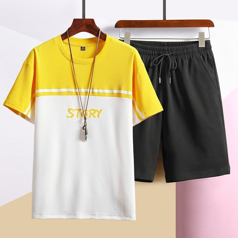 Summer Pullover Short Sleeve Color Patchwork Mens T-Shirts Solid Drawstring Waist Shorts Male Sports Casual 2Pcs Sets Plus Size