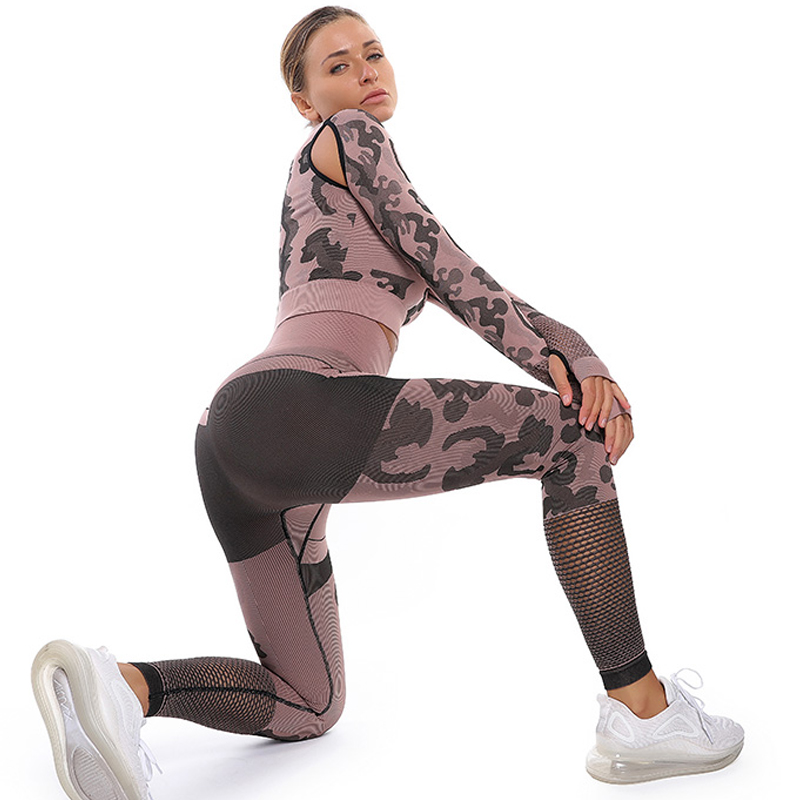 Sport Fitness Seamless Yoga Pants CamouflageWorkout Clothes Gym For Woman Fitness Breathable High Waist Running Yoga Pants Women