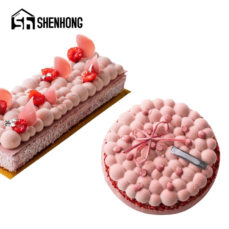 SHENHONG yuvarlak kabarcık silikon kek kalıpları paslanmaz çelik Tart yüzük pasta pişirme araçları tatlı kalıpları dekorasyon Bakeware seti