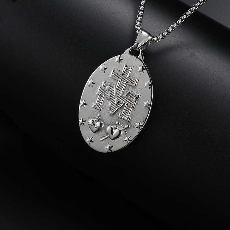 OQEPJ religijnych 316L naszyjnik ze stali nierdzewnej wisiorek Christian Virgin Mary wykwintne naszyjnik zapobiec alergii biżuteria dla kobiet