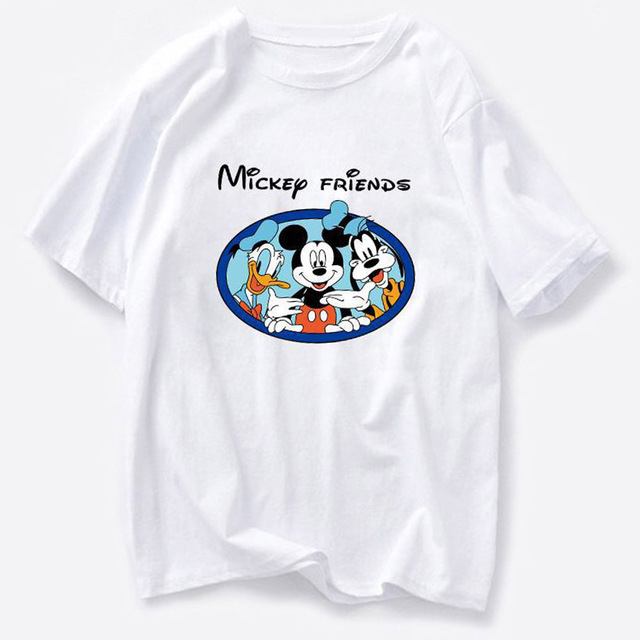 Disney Family T-Shirt Fashion Winnie the Pooh Mickey Mouse Stitch Fairy Dumbo SIMBA Cartoon Print Women T-Shirt Cotton Tee Tops 24