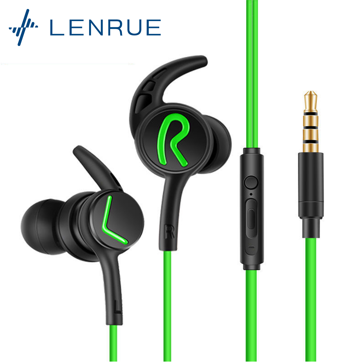 Lenrue A6 Game Earphone Earbuds With Built-in Microphone 3.5mm Jack or Type-C In-Ear Wired Earphones For Gaming Phone Laptop