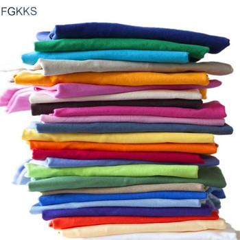 FGKKS marka mężczyźni Fitness koszulka Casual Style męskie koszulki koszulka typu slim fit moda jednolity kolor Outdoor Sports Tee tanie i dobre opinie Krótki O-neck Topy Tees T Shirts Suknem COTTON W stylu Safari Stałe