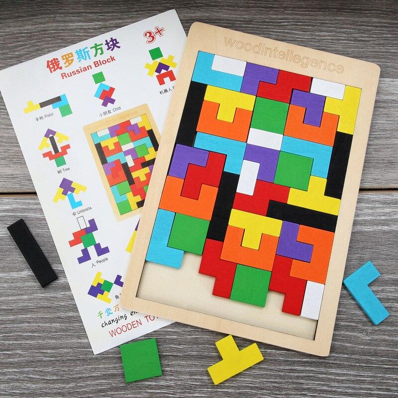 Деревянная головоломка 3D Tangram, 2 размера, яркие цветные детские креативные игрушки, детская интеллектуальная развивающая игрушка для дошкольного возраста