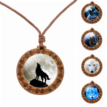 Full Moon White Wood Necklace Wolf Animal Wooden Pendant Wax Rope Chain Necklaces Glass Cabochon Jewelry Gift