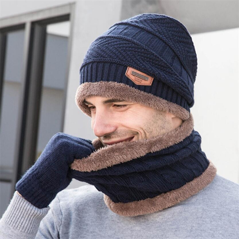 2019 Men Winter Knitted Hat And Scarf Gloves Set Women Warm Plush Hat 3 Piece Sets Male Outdoor Ski Cap Ring Scarves Solid Man