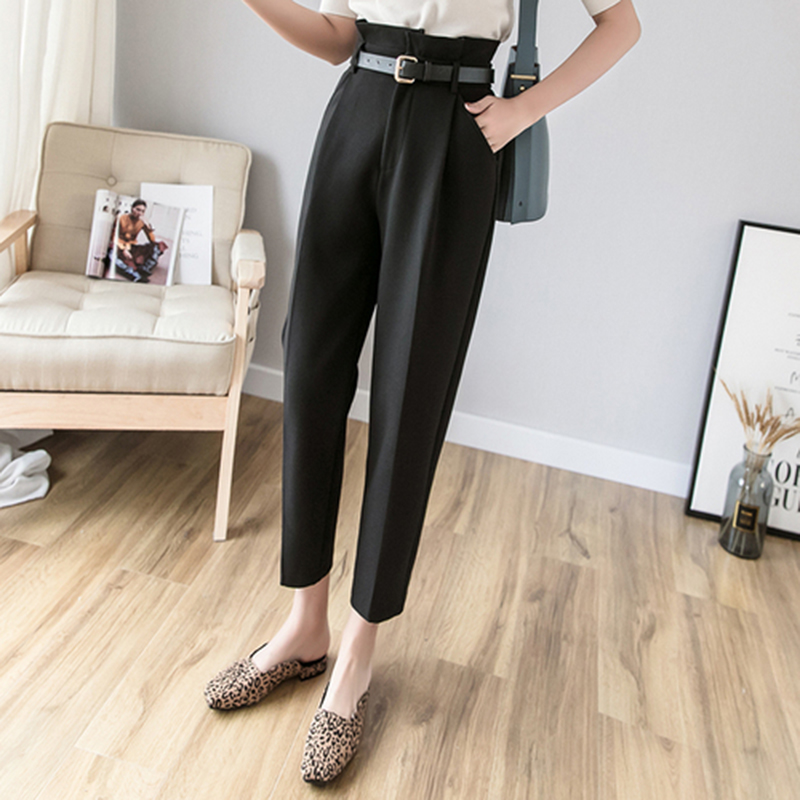 New Arrival Spring Fashion Women OL Pencil Pants High Waist Slim Simple Suit Trousers Female Casual Ankle-length Pants S248