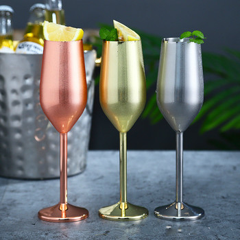 Stainless Steel Champagne Cup Wine Glass Cocktail Glass Creative Metal Wine Glass Bar Restaurant Goblet Rose Gold стакан mizu nixon wine cup set lock up glossy rose gold black print
