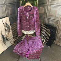 High Quality Autumn Winter Runway Suit Women Long Sleeve Tweed Woolen Jacket and Skirt 2 Piece Set Elegant Lady Outfits