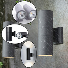 Up and down outdoor black gray wall light 6W /10W Double Head Exterior Outside Porch Light porch garden waterproof home lighting