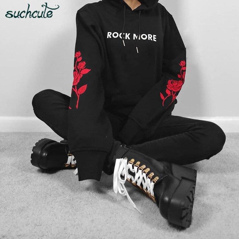 SUCHCUTE Gothic Hoodies For Women Blackpink Print Kpop Bangtan Autumn 2019 Longslive Hip Hop Harajuku Hoodie Sweatshirt Moletom
