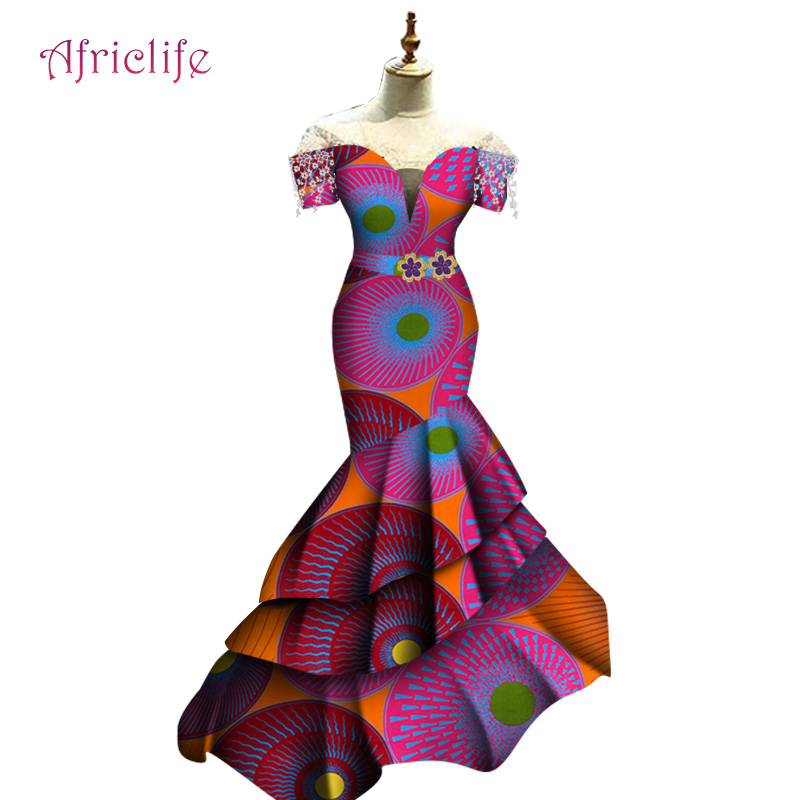 WY5919 Pleated Women Dresses One Pcs Evening Party Wedding Dresses Plus Size Custom  African Wax Cotton African Female Clothing