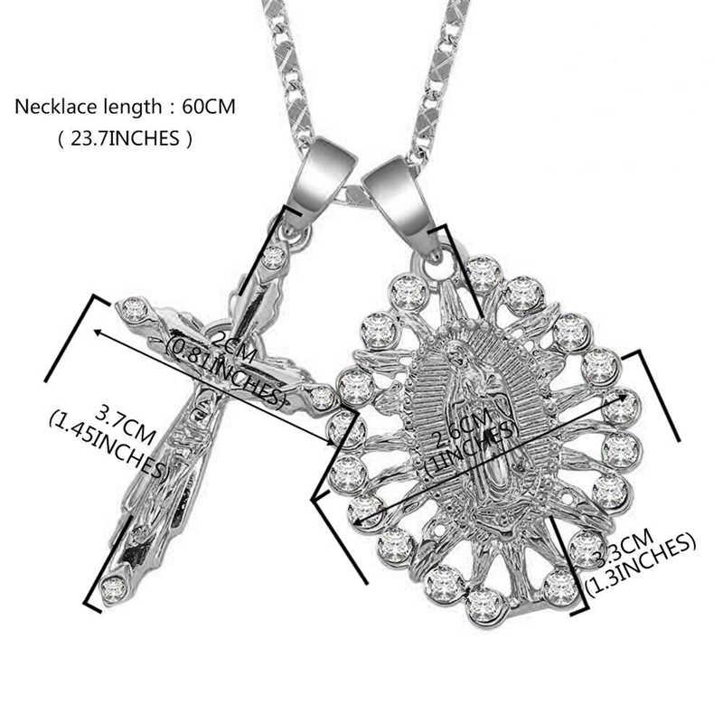 2020 新ゴールド色イエス苦しむ災害のための女性の男性の魅力チェーンネックレス十字架クリスチャンの装飾のギフト