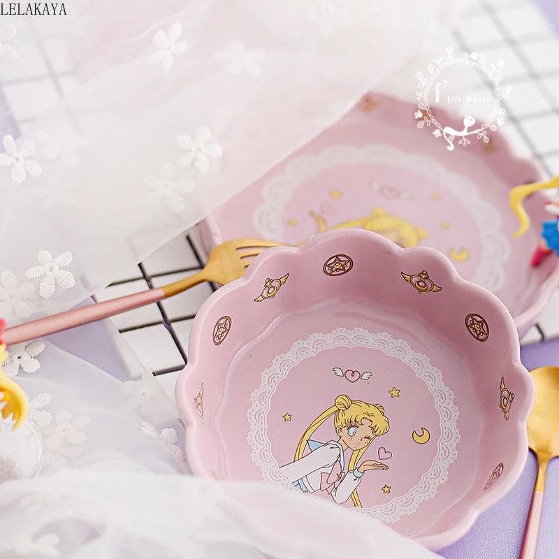 Japan Anime Action Figure Sailor Moon Tsukino Usagi Petal Ceramic Salad Bowl Cartoon Children Rice Snack Bowls House Tableware