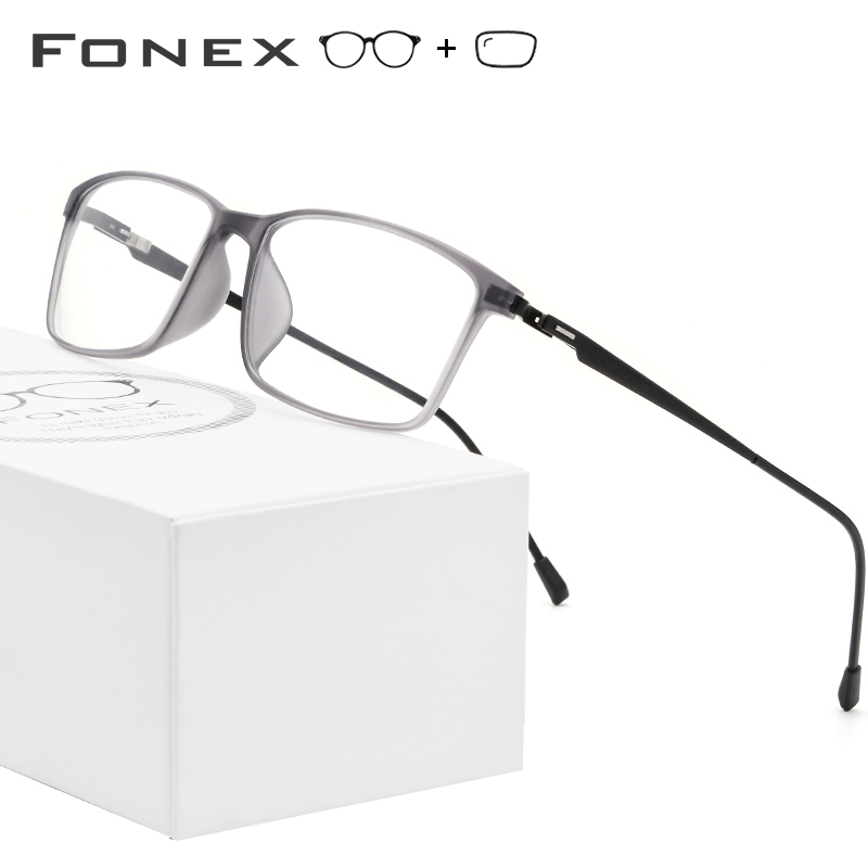 FONEX TR90 Alloy Prescription Glasses Men Myopia Eye Glass Eyeglasses Frame 2019 Korean Screwless Optical Frames