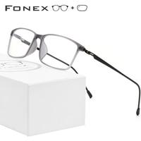 FONEX TR90 Alloy Prescription Glasses Men Myopia Eye Glass Eyeglasses Frame 2019 Korean Screwless Optical Frames Eyewear 9855