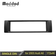 Marco de Audio 1 Din para Audi A6, reacondicionamiento de DVD, embellecedor de Fascia, montaje de instalación, bisel de placa facial, 2003