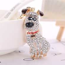 Enamel Dalmatian Dog Keychain Crystal HandBag Pendant Keyrings for Car Key Chains Holder Women Animal Jewelry Bag Charms(China)