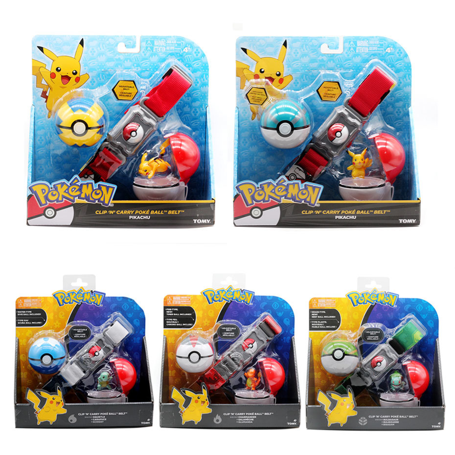 Pokemones Ball figure With Belt and Pop-up Action Figure Model Toys Retractable Belt Gifts Kids Toys in box 5