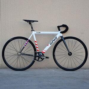 Fixed Gear Bike 52CM Single Speed Bike Aluminium Alloy Frame Track Bicycle 700C 3 spokes Magnesium Alloy Wheel V Brake Cycling