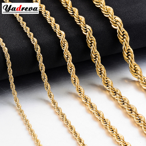 New Gold Stainless Steel Rope Chain 2mm-6mm Fashion Jewelry Ladies Necklace(China)