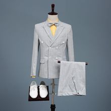New Arrival Men Fashionable 2 Sets Stage Singer Suits Wedding Groom Jacket Pants 2pcs Costume Homme Mariage Di Usura Dello Sposo