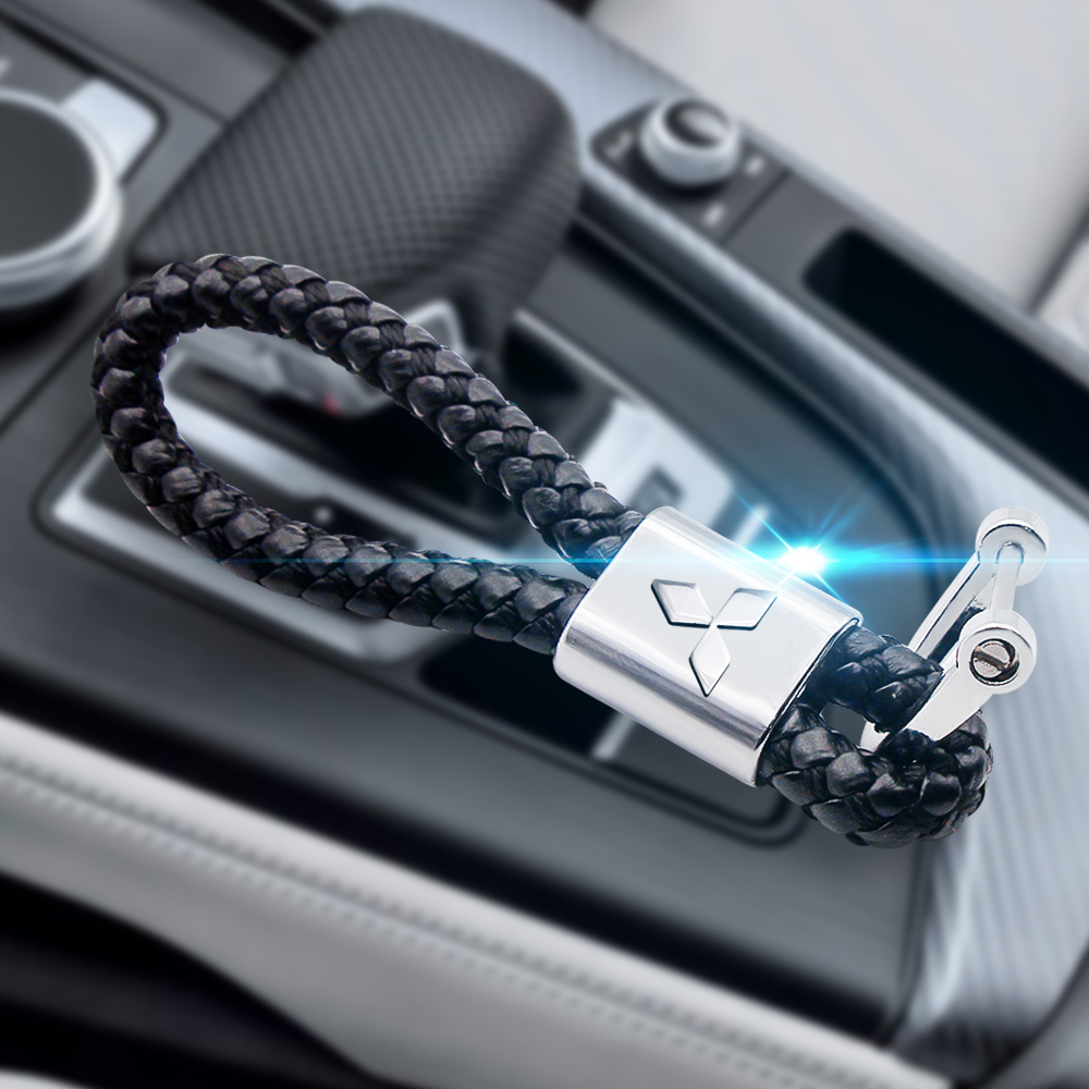 3D High-Grade metal Woven Leather Car KeyChain Horseshoe Buckle Key Rings for Mitsubishi asx lancer pajero 4 outlander 3 xl l200