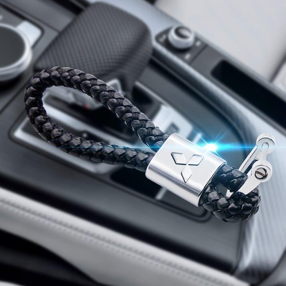 3D High-Grade metall Woven Leder Auto KeyChain Hufeisen Schnalle Schlüssel Ringe für Mitsubishi asx lancer pajero 4 outlander 3 xl l200