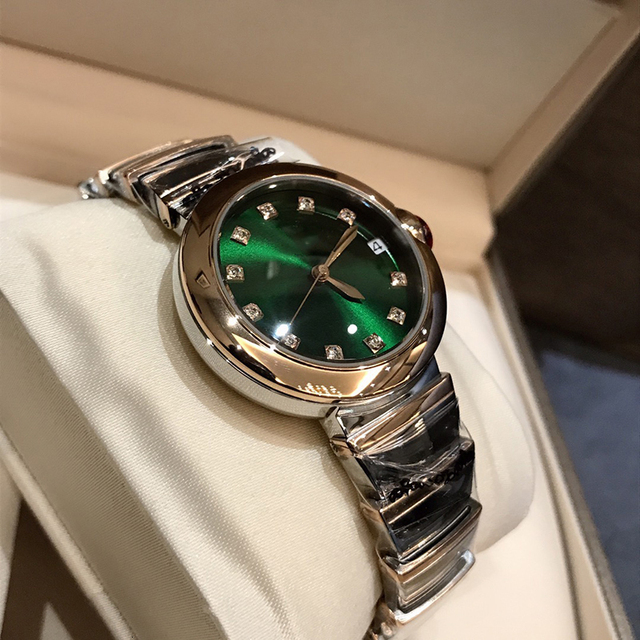 Hot Brand Fashion Luxury Watch Green Dial Mother of Pearls Dial Automatiic Watch Snake Strap Rose Gold Color Stainless Steel 2