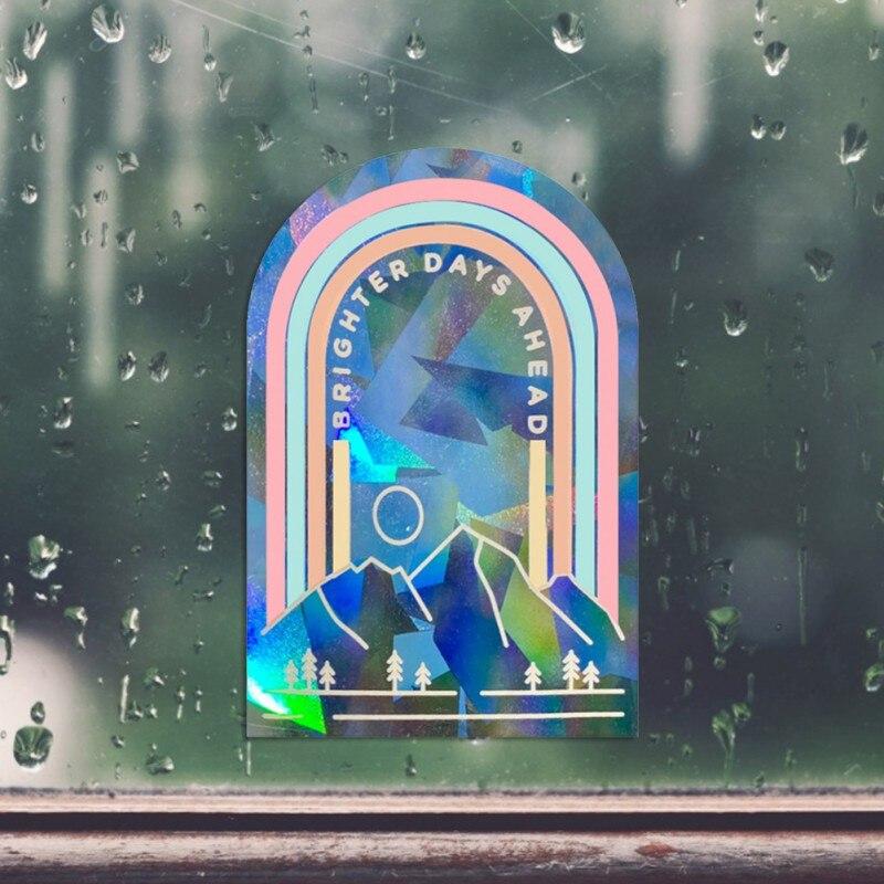 Радужные наклейки на окна, наклейки на окна с защитой от столкновений, рефракционные зеркальные наклейки на стену, декор для гостиной