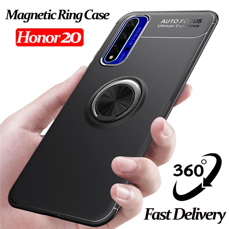 ALLORUS For Huawei Honor 20 Case Luxury Magnetic Car Holder Phone Cases honorV20 Back cover honor magnetic ring case