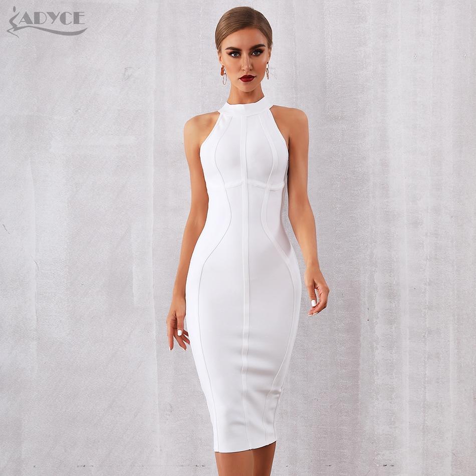 ADYCE 2020 New Summer White Women Bodycon Bandage Dress Vestidos Elegant Tank Sexy Sleeveless Club Celebrity Runway Party Dress Dresses  - AliExpress