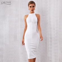 ADYCE 2021 New Summer White Women Bodycon Bandage Dress Elegant Tank Sexy Sleeveless Club Celebrity Evening Runway Party Dresses