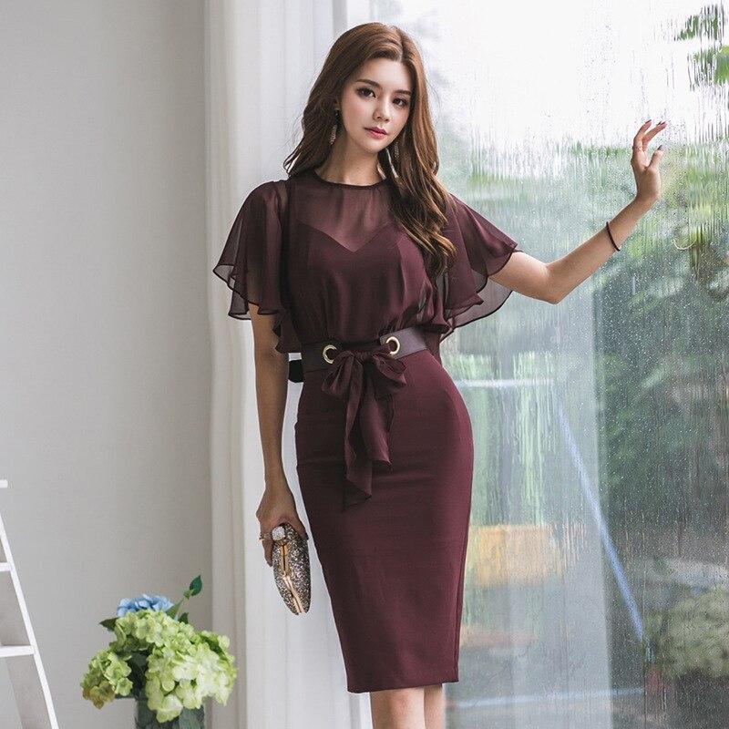Elegant Round Neck Cap Sleeves Chiffon Split Joint False Two Pieces Cocktail Dresses Belt Design Women Casual Dress Vestidos