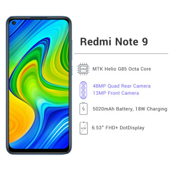 Global Version Xiaomi Redmi Note 9 3GB 64GB / 4GB 128GB Smartphone Helio G85 Octa Core 48MP Quad Rear Camera 6.53 2