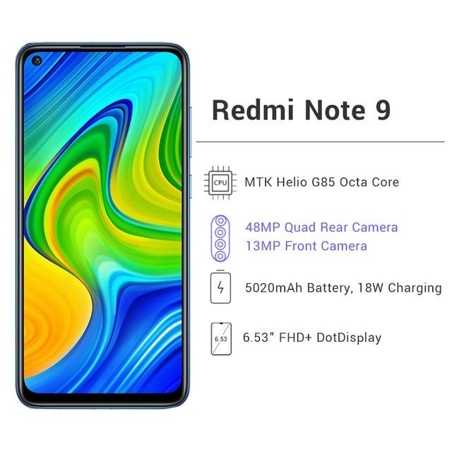 Глобальная версия Xiaomi Redmi Note 9 3 ГБ 64 ГБ / 4 ГБ 128 ГБ Смартфон Helio G85 Восьмиядерный 48Мп Четыре камеры заднего вида 6,53 2