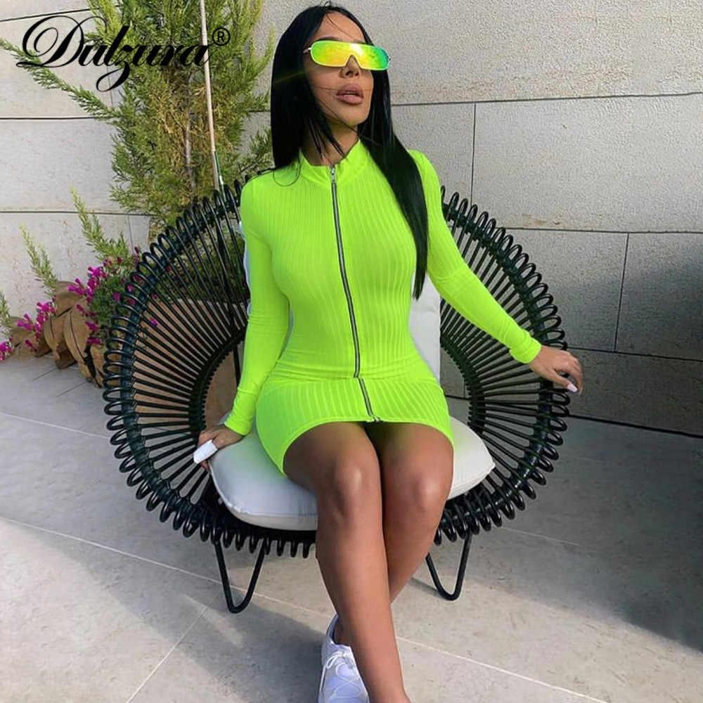 Dulzura 2019 летнее женское мини платье для вечеринки с длинным рукавом фитнес молния bodycon уличная fretival одежда плюс размер Элегантная Сексуальная