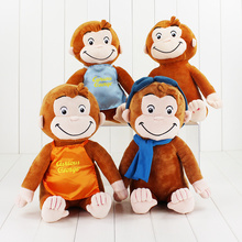 цена на 30cm Curious George Plush Doll Boots Monkey Plush Stuffed Animal Toys Cute Cuddly Teddy Bear for Children Kids Birthday Gifts