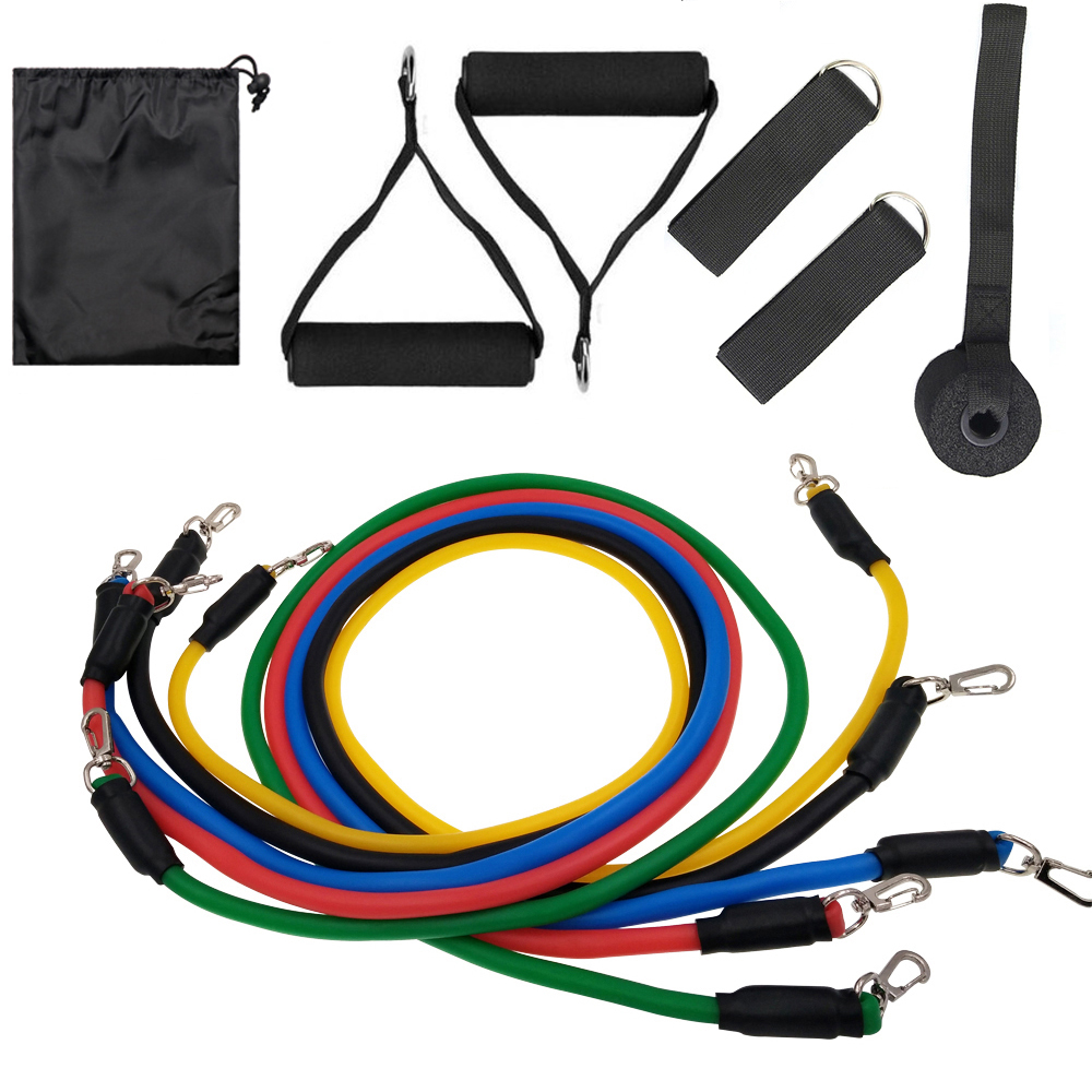 11Pcs Exercise Resistance Bands Sets For Women And Men Fitness Gym Strength Training Body Yoga Pilates Sport Rubber Band Pull Up