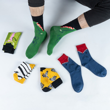 1 Pair Men Socks Cotton Funny Crew Socks Cartoon Animal Women Unisex Fashion Street Striped Oil Printing Checks Novelty Gift